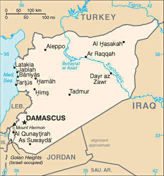 Damascus and syria map